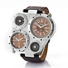 OULM Fashion Sports Mens Luxury Wristwatches Army Two Quartz Movements Watches Male Leather Watch Relojes Hombre (Brown)