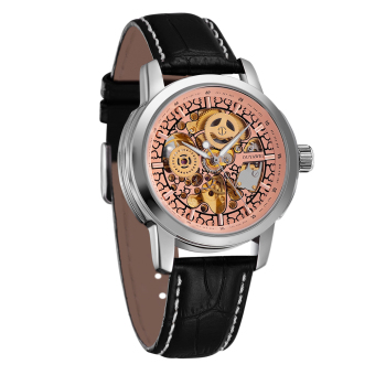 Ouyawei Skeleton Leather Strap Automatic Mechanical Watch - OYW1302 - Silver / Gold