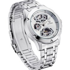 Ouyawei Skeleton Stainless Steel Automatic Mechanical Watch - OYW1321 - White / Silver