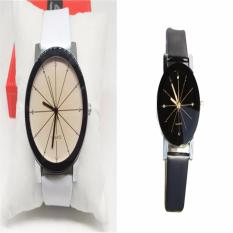 PAlight 2PCs Couples Casual PU Leather Watchband Wrist Watch (White-For Men&Black-For Women)
