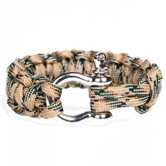 Paracord 550 Survival Bracelet With Stainless Steel Bow Shackle (Flax)