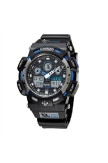 PASNEW PSE-1002AD 30M Waterproof Multi-functional Unisex Boys Girls Dual Time Display LED Digital Analog Sports Wrist Watch with Date / Alarm / Stopwatch / Rubber Band Blue + Black