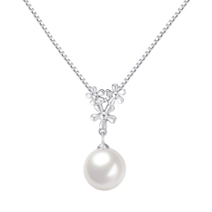 Pearl Plum Flower Shaped Women Silver Necklace Pendant (Pendant Only ), Silver - Intl