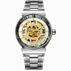 Perfect TEVISE Genuine Hollow Automatic Mechanical Male Table Through The End Of The Trend Of Korean Fashion Waterproof Watch Male Form New (White)