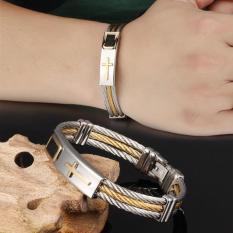 Perhiasan gelang pria tiga lapisan salib baja Titanium gelang - ต่าง ประเทศ