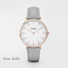PF 01GG Women's Simple Designed Elegant Fashion Quartz Watch (Grey / Gold) - Intl