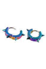 Phoenix B2C Unisex Titanium Steel Punk Rivet Ear Studs Spike Hoop Huggie Piercing Earrings (Multicolor)