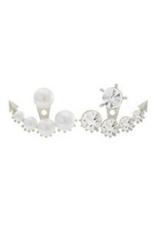 Phoenix B2C Women Faux Pearl Rhinestone Ear Stud Earrings Party Wedding Jewelry (Silver)
