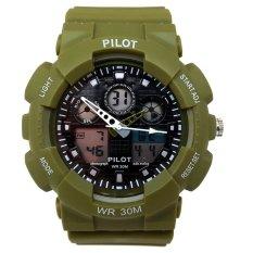 Pilot Waterproof Digital Sport - Jam Tangan Pria - Strap Karet - Hijau - PLT 1145 H