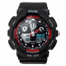Pilot Waterproof Digital Sport - Jam Tangan Pria - Strap Karet - Hitam Merah - PLT 1145