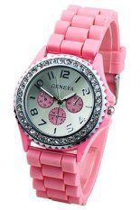 Pink Crystals Rubber Silicone Gel Jelly Strap Watch