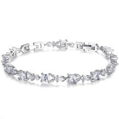 Platinum Rhodium Plated Bracelet Diamond Square Diamond Jewelry YIB030