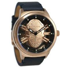 Police Jam Tangan Pria Hitam Ring Rosegold Leather Strap 14685JSR-67