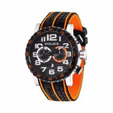 POLICE PL.14443JSTB/02PA - Chronograph - Jam Tangan Pria - Bahan Tali Rubber - Hitam Orange Model Roda Ban