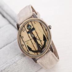 Polished Retro Anchor Watches Leather Band Analog Quartz Wrist Watch - Intl
