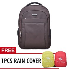 Polo Team Tas Ransel Laptop + RAIN COVER 702 - Cokelat