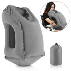 Portable Inflatable Travel Pillow Multifunction Airplane Neck Head Cushion Pillow Grey - intl