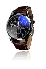 PU Leather Blue Ray Glass Analog Watch Wrist Watch Busines Watch For Men Black Dial with Brown Strap