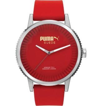 Puma - Jam Tangan Pria - Silver-Merah - Rubber Merah - PU104101004