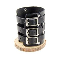Punk Cool Men Women Faux Leather Bracelet Fashion Wristband (Black) (Intl)