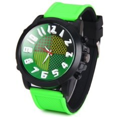 QF A1668 Cool Quartz Watch With Stereo Arabic Numerals Indicate And Rubber Watch Band For Men (GREEN)