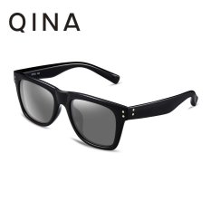 QINA Kacamata Polarized Pria Rectangle Hitam Proteksi UV 400 Lensa Abu Abu QN3501