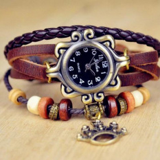 Quartz Stylish Weave Wrap Around Leather Bracelet Lady Wrist Watch Crown