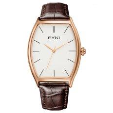 Quartz Watch EYKI Saat Watches Men Genuine Leather Belt Hardlex Analog - Intl