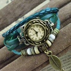 Quartz Weave Wrap Around Leather Bracelet Lady Woman Wrist Watch Atrovirens