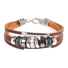 Queen Bohemian National Style Retro Leather Bracelet Wooden Beads Multi-Layer Rock Accessories For Men And Women (Brown)