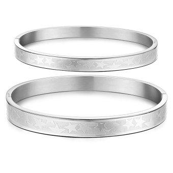 Queen Korean Fashion Classic Pentagram Titanium Steel Couple Gift Bangle Bracelet (Silver) -2 Pieces