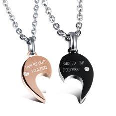 Queen Korean Fashion Couple Heart-shaped Necklace Titanium Steel Jewelry Wholesale (Black + Rose Gold) -2 PC