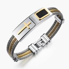 Queen Korean Fashion Cross Titanium Steel Unisex Men Bracelet Braided Bracelet Wholesale Gift ()