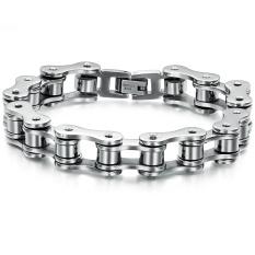Queen Korean Fashion Simple Titanium Steel Bracelet Men Jewelry Wholesale Gift (Black + Silver)