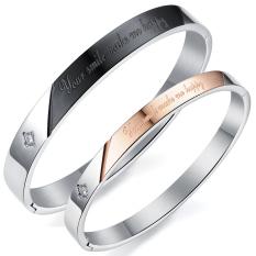 Queen Simple Four-leaf Flower Inlay Zircon Couple Of Titanium Steel Bracelet Valentine's Day Gift (Black + Rose Gold)