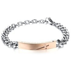 Queen Women's Cross Carved Black Titanium Steel Rose Gold Plated Bracelet Valentine's Day Gift (Rose Gold)