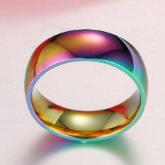 Rainbow Colorful Titanium Steel Finger Rings Men/Womens Engagement Wedding Band Size 11 - intl