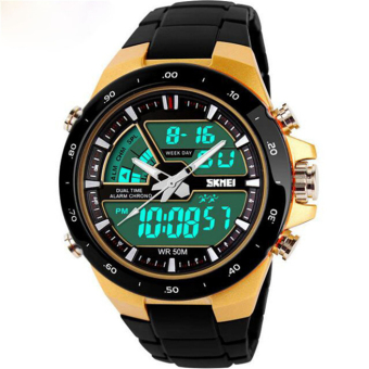 Readeel Men Sports Watches Waterproof Fashion Casual Quartz Watch Digital & Analog Military Multifunctional Men's Sports Watches (Gold)
