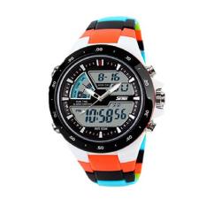 Readeel Men Sports Watches Waterproof Fashion Casual Quartz Watch Digital & Analog Military Multifunctional Men's Sports Watches (Orange)