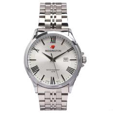 Reddington Date - Jam Tangan Pria - Silver Plat Putih - Strap Stainless Steel - RD327sp