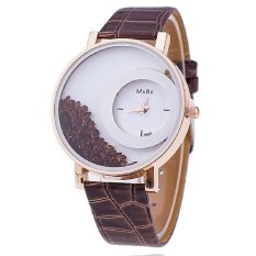 Relogio Feminino Reloj Watch Women Femme Rhinestone PU Leather Casual Quartz Watch Bracelet Wristwatch Women Brown (Intl)