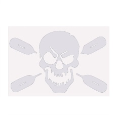 Removable Skull With Oars Paddle Vinyl Sticker Decal Art Mural Car Truck Decor White - Intl