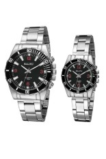 Retro Fashion Waterproof Couples Quartz Watch Gift For Lovers (Silver) (Intl)