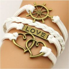 Retro Infinity One Direction Heart Love Leather Charm Bracelet Bronze Gift Cute White