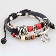 Retro String Beads Braid Bracelet Arrow Alloy Pendant Bangle Unisex