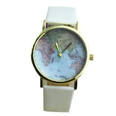 Retro World Map Watch Women Round Dial Leather Strap Watches Vintage Earth Map Wristwatch White (Intl)