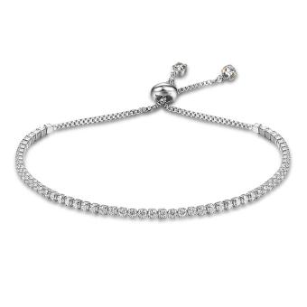 Richapex Women's Platinum Plated 925 Sterling Silver Adjustable Clear Cubic Zirconia Slider Tennis Bracelet