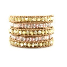 RIS Handmade 5 Wrap Bracelet Mother Of Pearl Seed Beaded On Leather Bangle (Multicolor) (Intl)