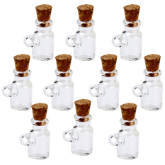RIS Mini Glass Bottle Jars Vials Wishing Bottle Pendant With Cork Stopper 10Pcs