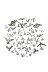 RIS Birds Alloy Pendant Charm Mixed Style 50-piece Set
